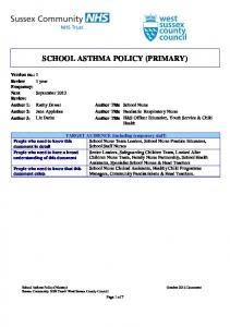 SCHOOL ASTHMA POLICY (PRIMARY)