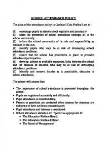 SCHOOL ATTENDANCE POLICY. The aims of the attendance policy in Gaelscoil Cois Feabhail are to :