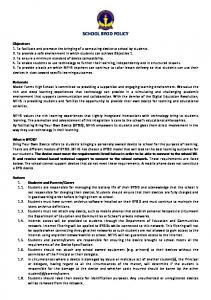 SCHOOL BYOD POLICY Objectives Rationale What is BYOD?