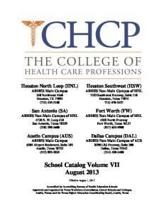 School Catalog Volume VII August 2013