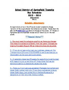 School District of Springfield Township Bus Schedules