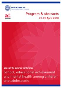 School, educational achievement and mental health among children and adolescents