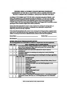SCHOOL FOOD AUTHORITY ON-SITE REVIEW CHECKLIST