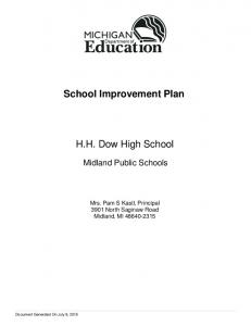 School Improvement Plan. H.H. Dow High School