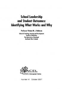 School Leadership and Student Outcomes: Identifying What Works and Why