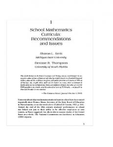 School Mathematics Curricula : Recommendations and Issues