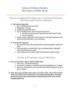 School of Biblical Studies: The Basics of Bible Study