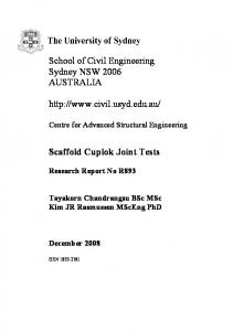 School of Civil Engineering Sydney NSW 2006 AUSTRALIA.  Scaffold Cuplok Joint Tests