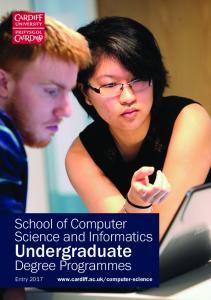 School of Computer Science and Informatics. Undergraduate. Degree Programmes. Entry