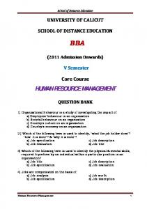 School of Distance Education UNIVERSITY OF CALICUT SCHOOL OF DISTANCE EDUCATION BBA. (2011 Admission Onwards) V Semester