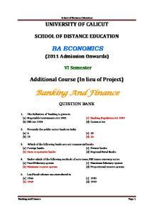 School of Distance Education UNIVERSITY OF CALICUT SCHOOL OF DISTANCE EDUCATION BA ECONOMICS. (2011 Admission Onwards) VI Semester