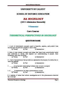 School of Distance Education UNIVERSITY OF CALICUT SCHOOL OF DISTANCE EDUCATION BA SOCIOLOGY. (2011 Admission Onwards) V Semester