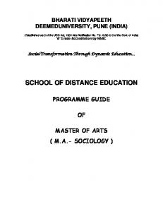 SCHOOL OF DISTANCE EDUCATION
