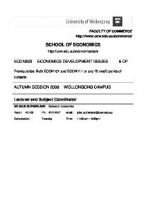 SCHOOL OF ECONOMICS.  ECON303 ECONOMICS DEVELOPMENT ISSUES 6 CP