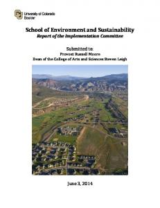 School of Environment and Sustainability Report of the Implementation Committee