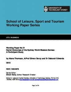School of Leisure, Sport and Tourism Working Paper Series