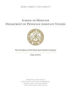 School of Medicine Department of Physician Assistant Studies