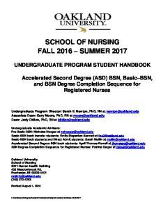 SCHOOL OF NURSING FALL 2016 SUMMER 2017