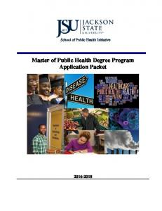 School of Public Health Initiative. Master of Public Health Degree Program Application Packet