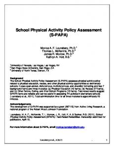 School Physical Activity Policy Assessment (S-PAPA)