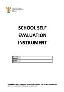 SCHOOL SELF EVALUATION INSTRUMENT