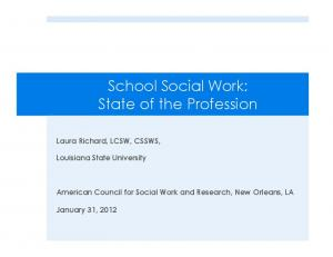 School Social Work: State of the Profession