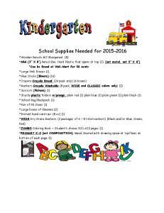 School Supplies Needed for