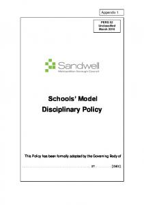 Schools Model Disciplinary Policy