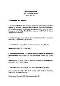 Schriftenverzeichnis Prof. Dr. Frank Saliger