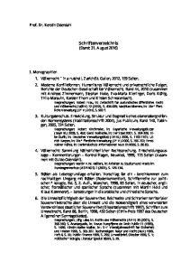 Schriftenverzeichnis (Stand: 31. August 2016)