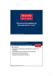Schulentwicklungsplanung Sekundarstufen I und II