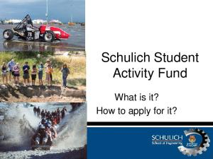 Schulich Student Activity Fund. What is it? How to apply for it?