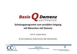 Schulungsprogramm zum sensiblen Umgang mit Menschen mit Demenz