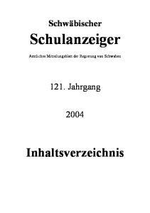 Schwäbischer. Schulanzeiger. Amtliches Mitteilungsblatt der Regierung von Schwaben Jahrgang. Inhaltsverzeichnis