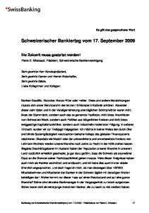 Schweizerischer Bankiertag vom 17. September 2009