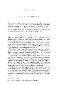 SCIENCE AND CERTAINTY 1