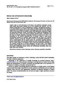 Science and environmental stewardship