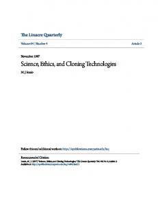Science, Ethics, and Cloning Technologies