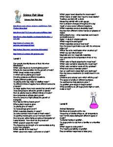 Science Fair Ideas. Level 1. Level II