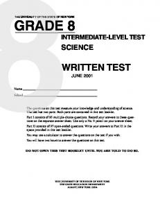 SCIENCE JUNE 2001 DO NOT OPEN THIS TEST BOOKLET UNTIL YOU ARE TOLD TO DO SO