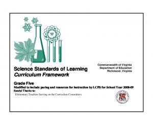 Science Standards of Learning Curriculum Framework