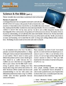 Science & the Bible (part 2)
