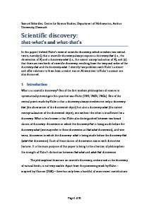 Scientific discovery: that what s and what that s