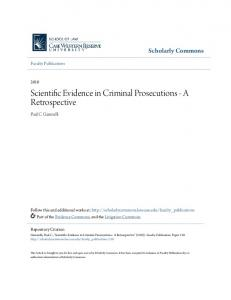 Scientific Evidence in Criminal Prosecutions - A Retrospective