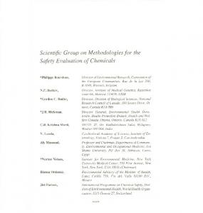 Scientific Group on Methodologies for the Safety Evaluation of Chemicals