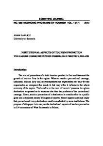 SCIENTIFIC JOURNAL NO. 658 ECONOMIC PROBLEMS OF TOURISM VOL. 1 (17) 2012 INSTITUTIONAL ASPECTS OF TOURISM PROMOTION