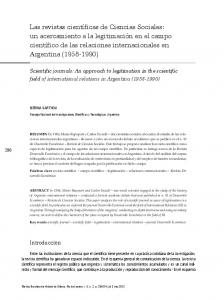 Scientific journals: An approach to legitimation in the scientific field of international relations in Argentina ( )