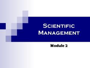 Scientific Management. Module 2