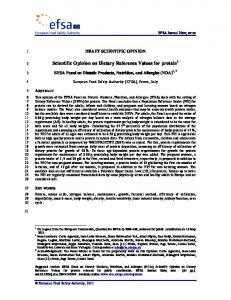 Scientific Opinion on Dietary Reference Values for protein 1