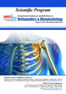 Scientific Program. Orthopedics & Rheumatology. International Conference and Exhibition on